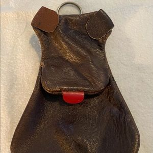 Rare Vintage Dog Coin Purse Keychain Brown Leather